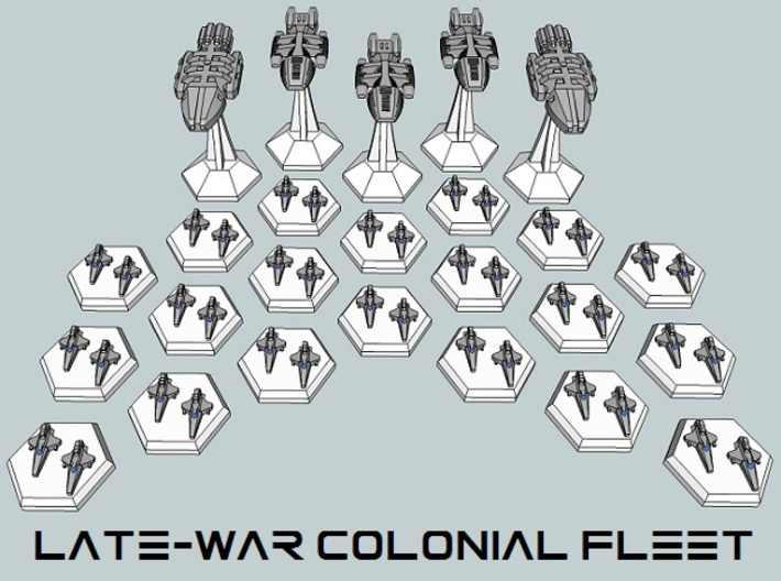MicroFleet BSG Late-War Colonial Fleet (25pcs) 3d printed