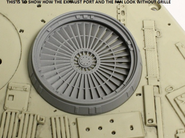 Exhaust Port with Grille for deAgostini Falcon 3d printed Exhaust port with the optional fan without grille