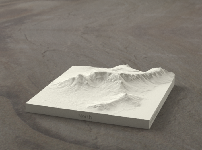 4''/10cm Table Mountain, South Africa 3d printed Radiance rendering of model, looking South