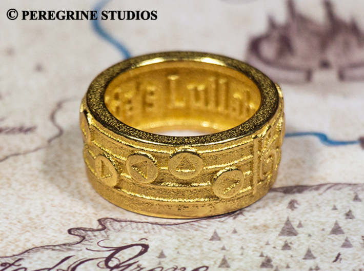 Ring - Zelda's Lullaby 3d printed Polished Gold Steel
