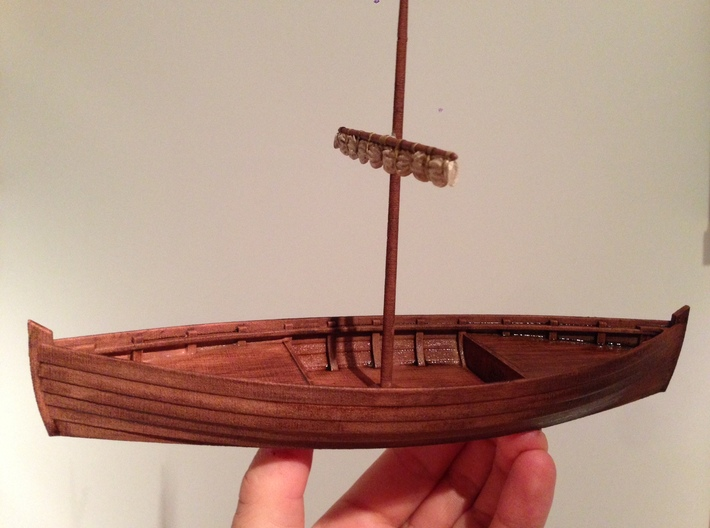 Medieval cargo ship, Knarr 3d printed Painted sample