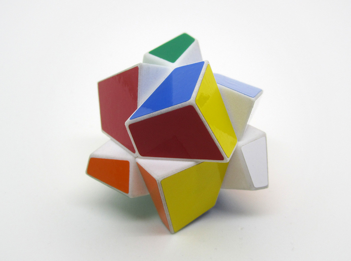 Polyaxis Cube 2x2x2 (DIY) 3d printed Assembled and stickered, partially scrambled(White Strong and Flexible Polished)