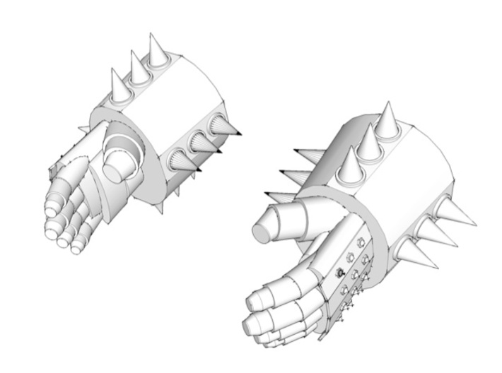 5x spiked gauntlets 3d printed SketchUp version