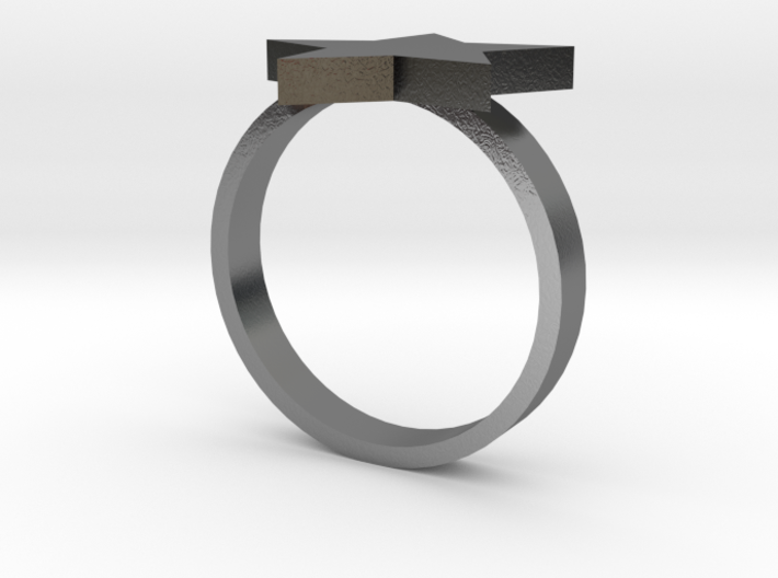 Silver Star Ring (Size M) 3d printed