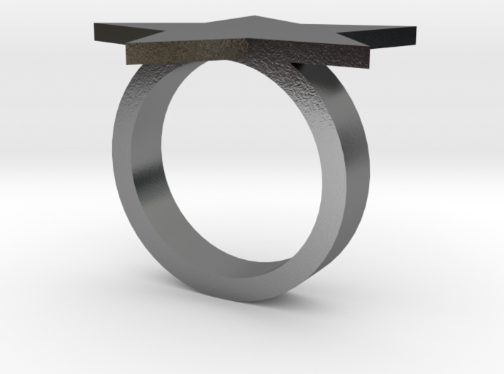 Silver Star Ring (size L) 3d printed