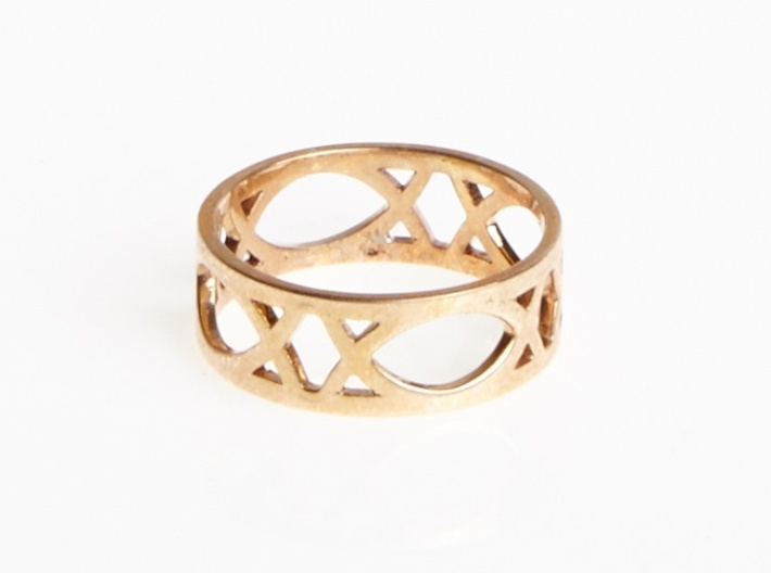 Art Deco Styled Ring  3d printed Art Deco Ring in Polished Bronze