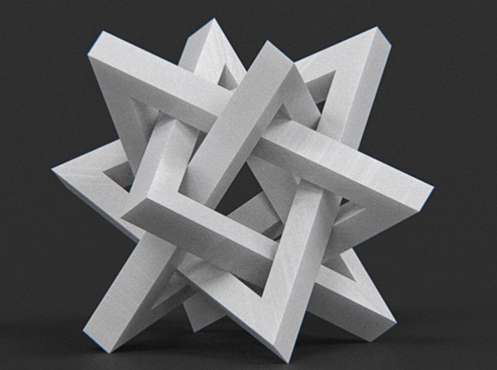 Orderly Tangle 02 - Four Hollow Triangles 3d printed