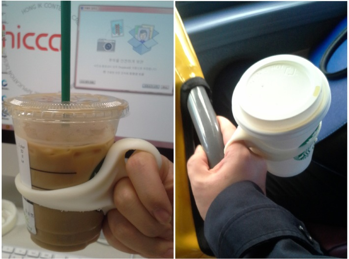 Cup holder for Multitasking - v.10oz 3d printed Actual use