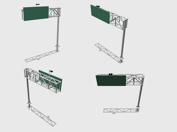 Highway Cantilever Sign 1-87 HO Scale 2 Pack 3d printed