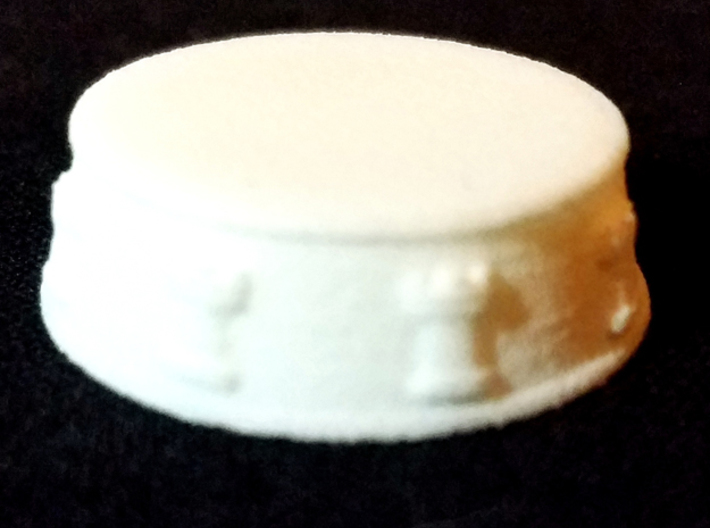 16 Chess Bases (1 army or half of a full set) - 1  3d printed Rook: White Strong and Flexible - Photo on Black Fabric