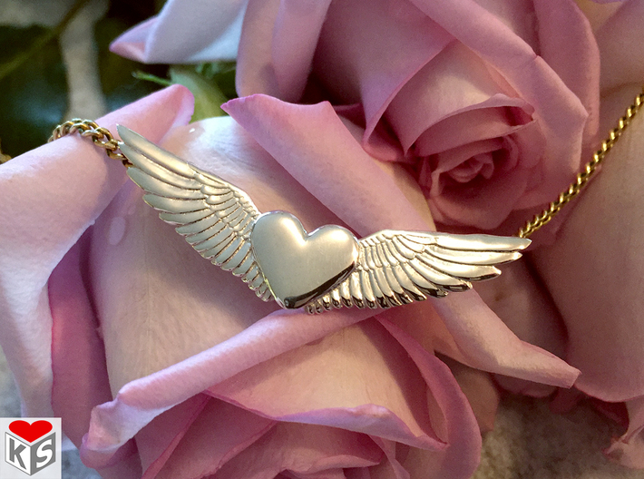 Heart With Wings Pendant 3d printed Product Photo of Polished Silver.