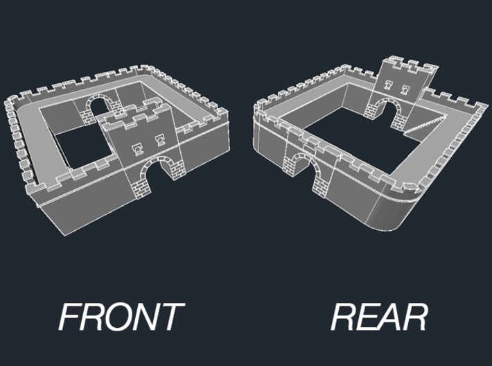 """Roman Milecastle (Detached) 3d printed Milecastle """"Long Axis"""" Basic Model designed for a standalone fortlet detached from wall."""