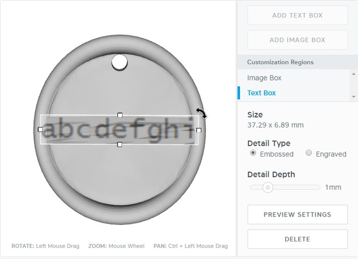 +keychain tag round warped border embossed 3d printed CustomMaker test box definition area