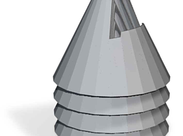 zz - Cone stand - 3in base, Gray, 4-up 3d printed