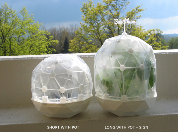 Mini Greenhouse-Dome Set #2 - long (clickable) 3d printed Flexible Mini Greenhouse-Dome with Pot (Sets short and long + sign). Own 3D-prints with PLA.