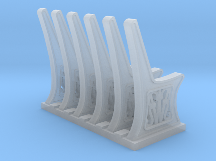 GWR Bench ends 2mm scale x 6 sprue 3d printed