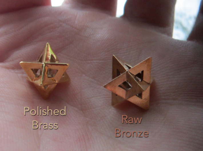 Mini-Merkaba - Sharp - Thick - 1cm 3d printed Polished materials have more rounding on the edges