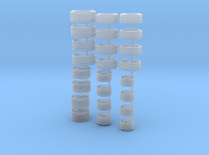 3 Felgensätze mit Reifen für H0 / 1:87 PKW´s 3d printed