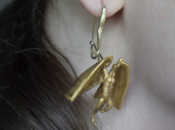 Draco Earring 1 3d printed Painted, hooks separately