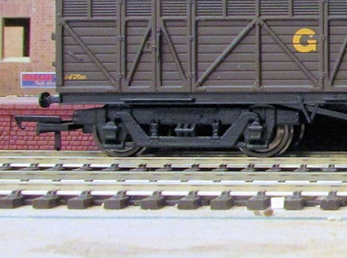 GW 9' American Bogie Hornby/Airfix  Fit 3d printed Finished bogie fitted to Hornby Siphon H after  painting, fitting with Bachmann wheels and Hornby wide couplings (wagon, wheels and couplings not supplied)