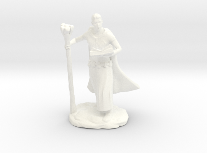 Male Elf Wizard With Spellbook And Staff 3d printed