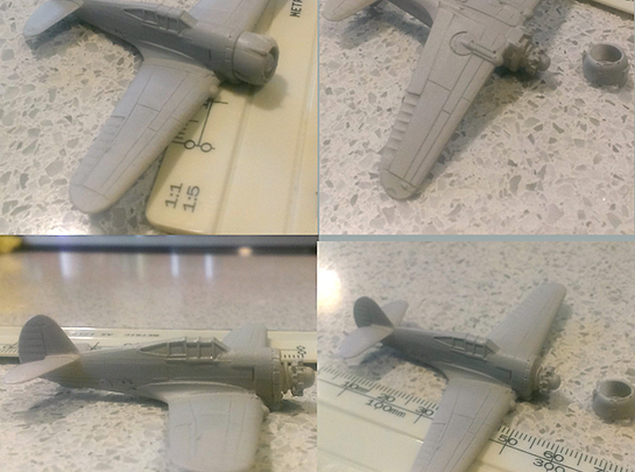 "1/144th - Curtiss 75 ""Hawk"" (P36) 3d printed primed with scale"