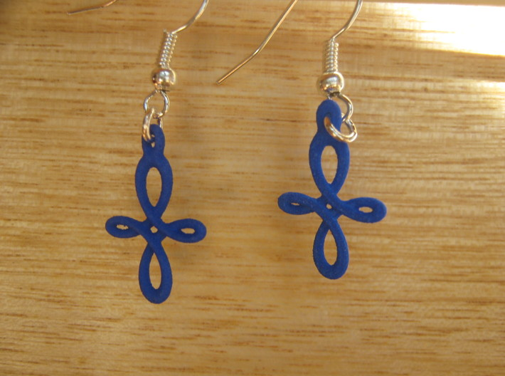 Curly Cross Earrings 3d printed