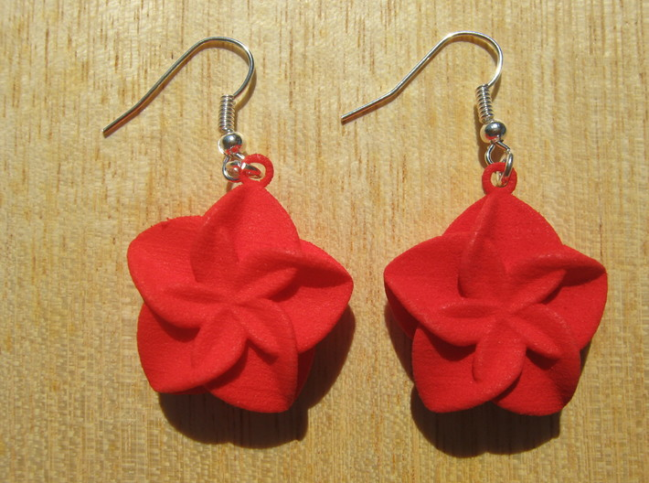 Double Flower Earrings 3d printed