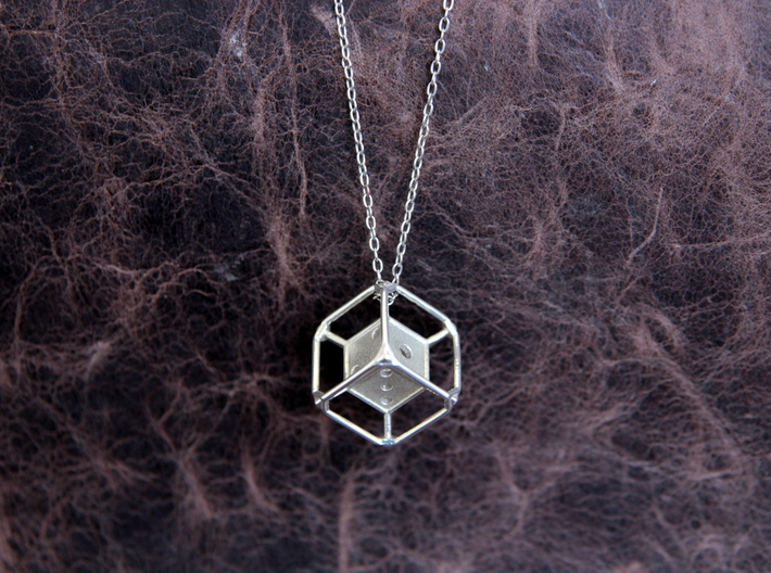 d6 Dice Pendant 3d printed Chain not included.