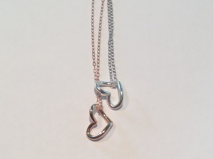 Heart Necklace 3d printed Shown in Rose Gold and Silver (Chain not included)
