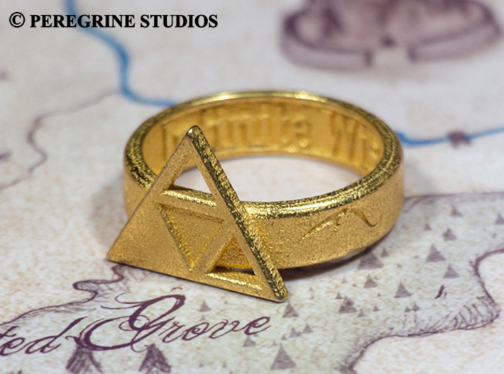 Ring - Triforce of Wisdom 3d printed Polished Gold Steel