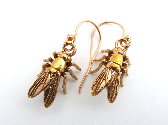 Drosophila Fruit Fly Earrings Science Jewelry Printed In Raw Bronze