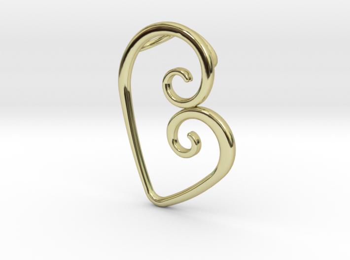 Swirl Heart Pendant - Original Reproduction 3d printed