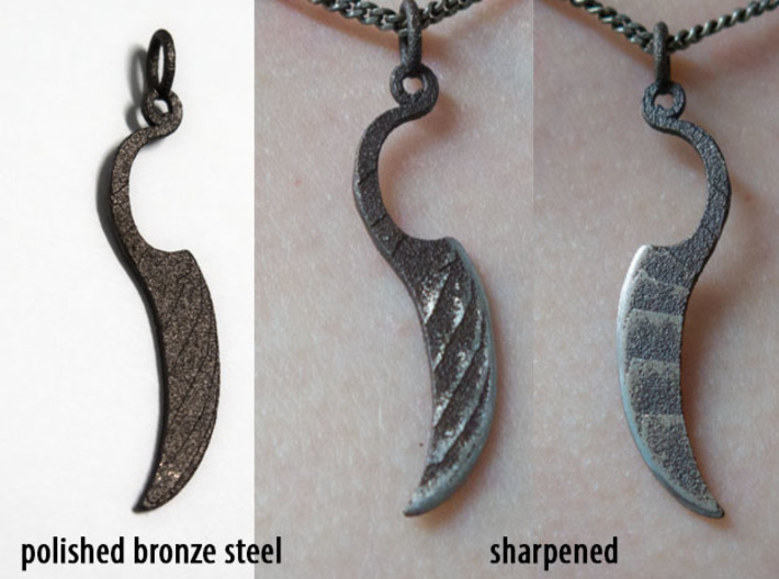 Woman's Knife 1 Pendant 3d printed From Shapeways, and after sharpening