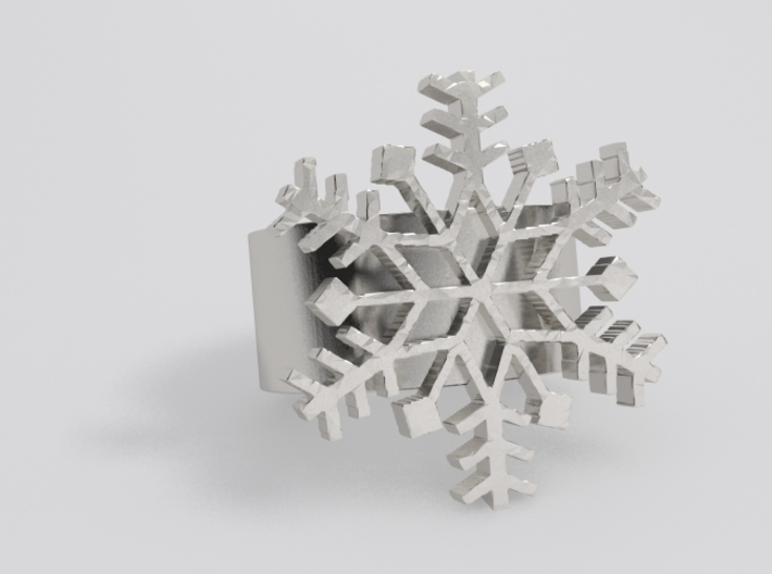 Snowflake Ring Size 7 3d printed Silver sample render. <br> NOTE: Flake is a little thicker and band is thinner now