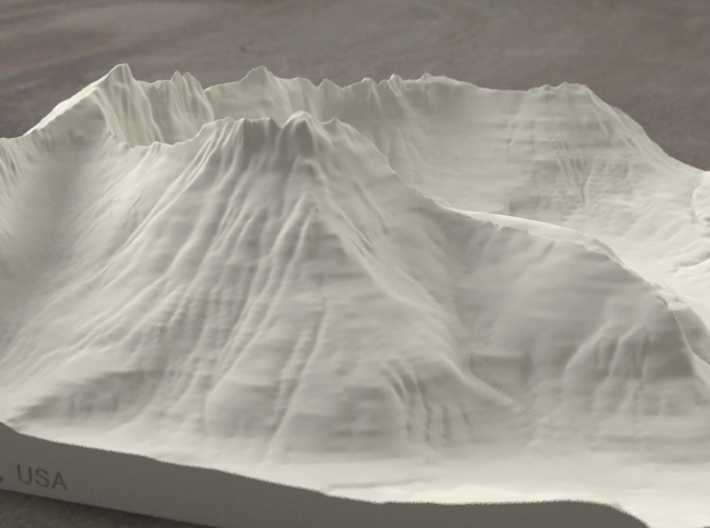 8'' Mt. Wilbur, Montana, USA, Sandstone 3d printed Radiance rendering of model, viewed from the South.