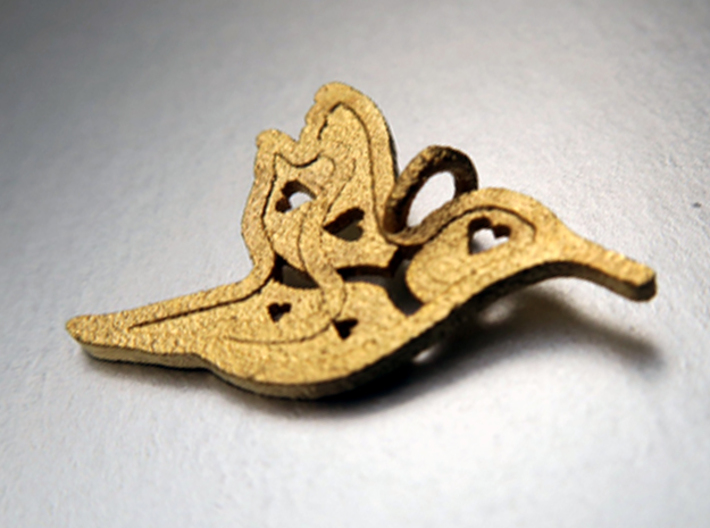 Pendant 'Bird' 3d printed Bird pendant 3D printed in polished gold steel.