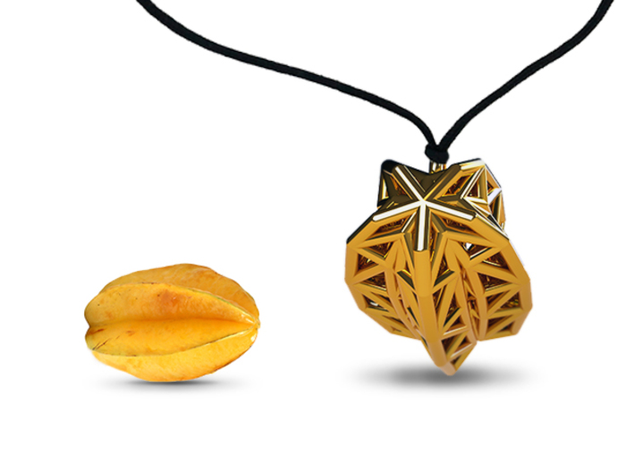 Poly Star Fruit Jewel 3d printed Necklace Mode