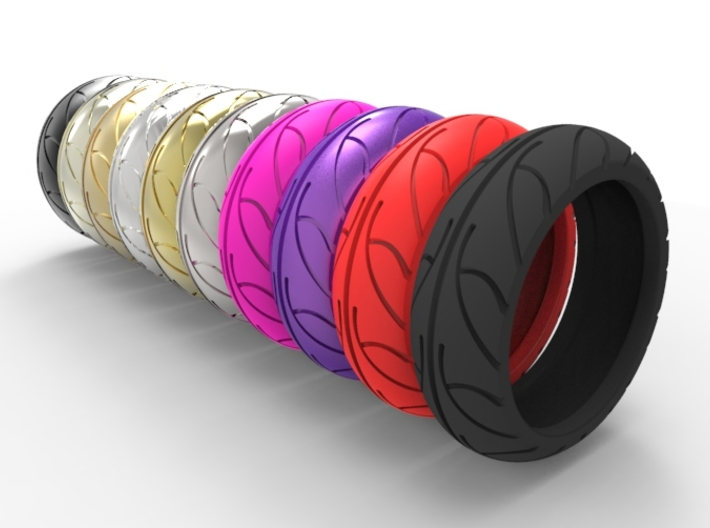 Street Bike Tread Ring Size 8 3d printed
