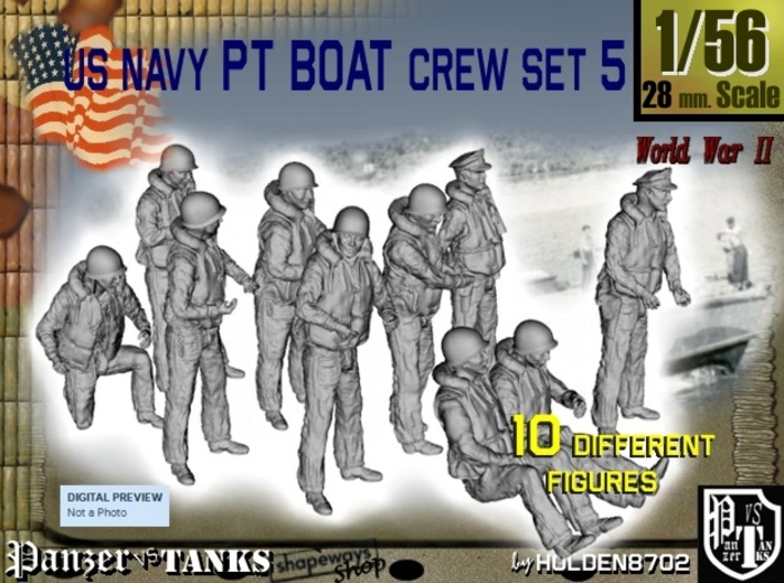 1-56 US Navy PT Boat Crew Set5 3d printed