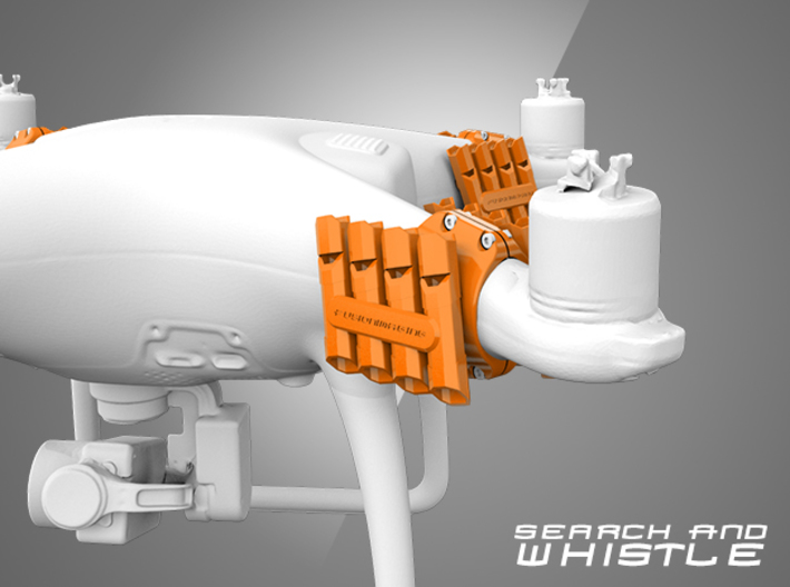 Phantom 4 - Drone Whistle Attachment Clamp - B 3d printed