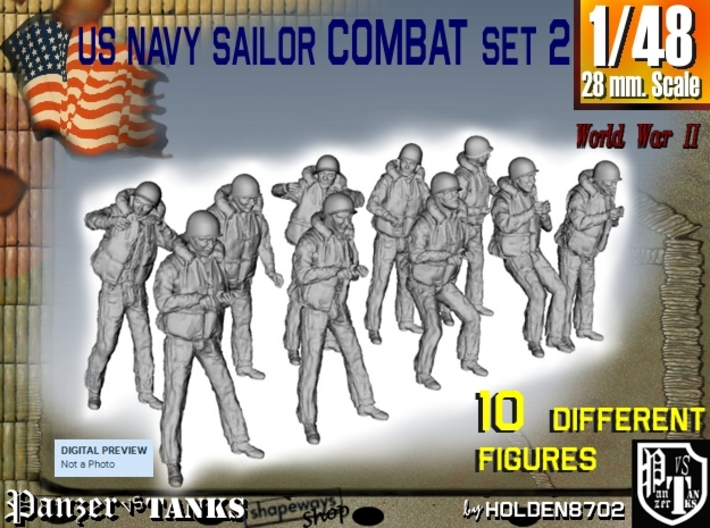 1-48 US Navy Sailors Combat SET 2 3d printed