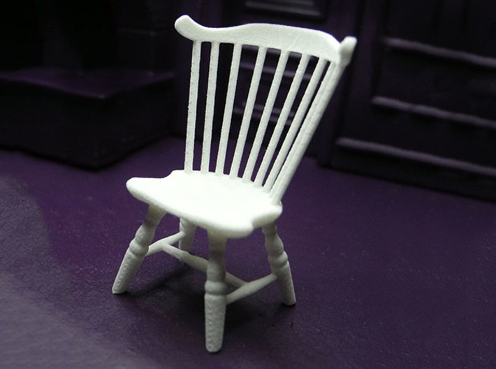 1:24 Fan Back Windsor Chair 3d printed Printed in White, Strong & Flexible