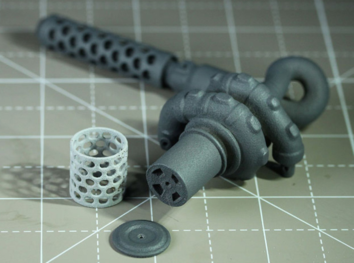 Sand Scorcher Air-filter Caps 3d printed Air-filter Cap, shown with the Turbo Exhaust and Air-filter Mesh (other parts sold separately)