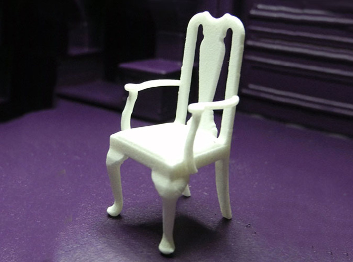 1:24 Queen Anne Chair with Arms 3d printed Printed in White Strong & Flexible