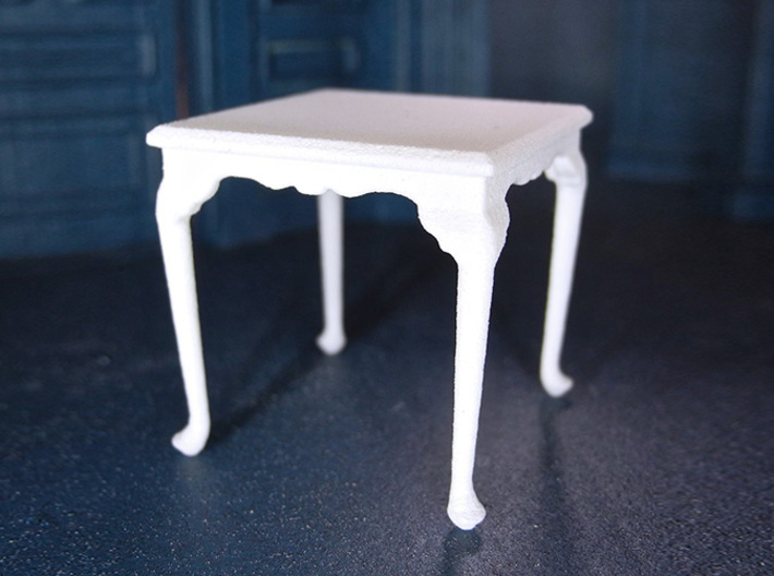 1:24 Queen Anne Square Dining Table 3d printed Printed in White, Strong & Flexible