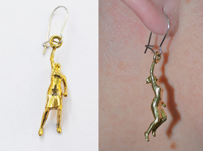 Earrings 'Golden lady' 3d printed raw brass