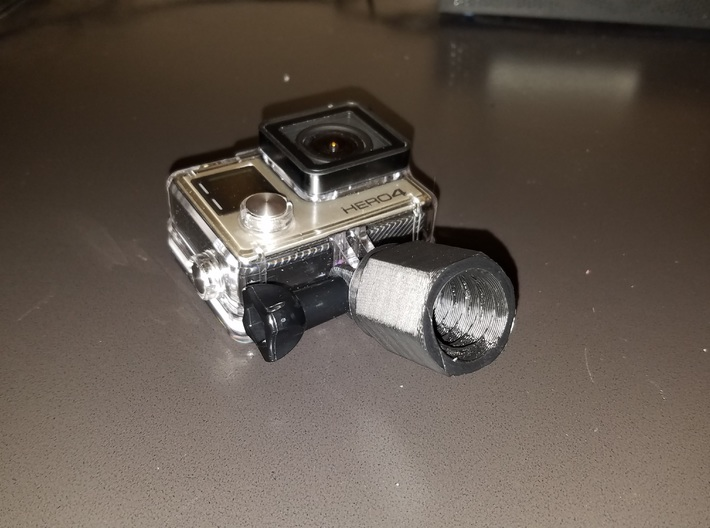 Extension Pole Gopro Mount super selfie pole 3d printed threaded to fit a standard extension pole