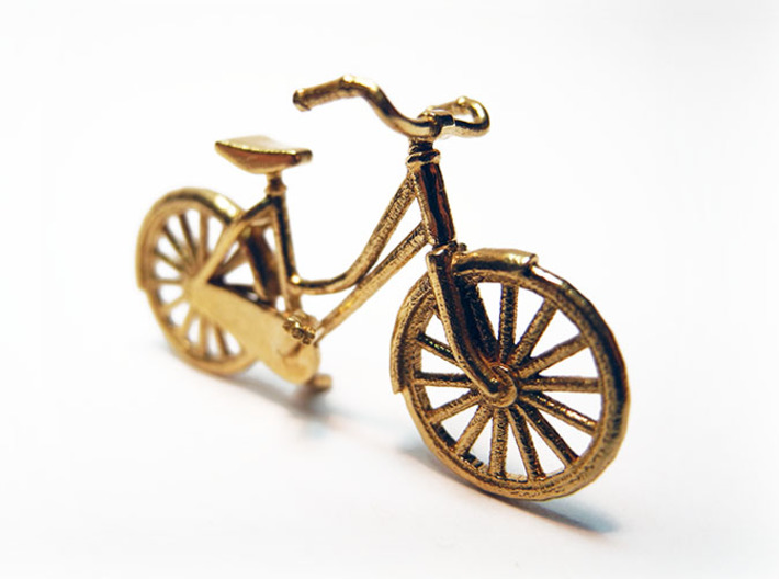 1:48 Vintage Bicycle 3d printed Printed in Raw Brass