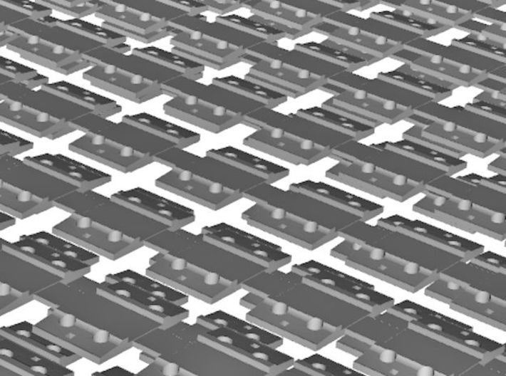 7mm Sleeper Plates C125 Rail X 500 3d printed Close up of 3D render - Two layers shown